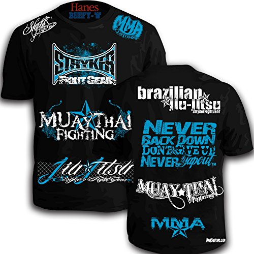 Walk Out Mma Shirt (Mmacustoms Stryker Signature Walk Out Shirt Never Tapout (XL, Black / Blue White Logo))