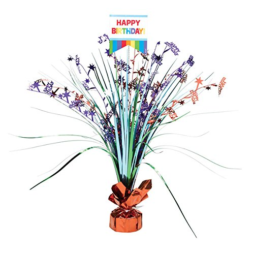 Amscan Fun Rainbow Birthday Party Spray Table Centerpiece Decoration, Multi, 18'' Foil Childrens-Party-Table-Centerpieces by Amscan