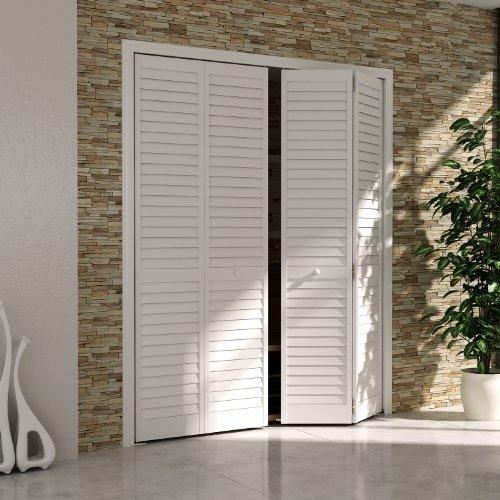 Bi-fold Closet Door, Louver Louver Plantation White (36x80) - Interior Bi Fold Doors