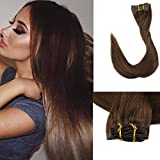 Full Shine 8 Pieces 18' 120g Seamless Hair Extensions Clip on Hair Straight Clip in Extensions Medium Brown Color #4 Colored Clip in Hair Extensions for Short Hair