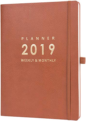 2019 Planner with Pen Holder - Weekly & Monthly Planner with Calendar Stickers, Inner Pocket with 24 Notes Pages, A4 Premium Thicker Paper, 8.5' x 11'