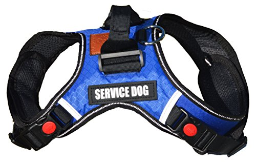 Albcorp Reflective Service Dog Vest Harness, Woven Nylon, Neoprene Handle, Adjustable Straps, with Comfy Mesh Padding, and 2 Hook and Loop Removable Patches, Large, Blue
