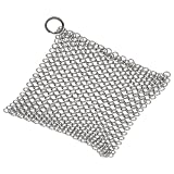 "Stainless Steel Cast Iron Cleaner - Isermeo Premium Chainmail Scrubber for Skillets, Griddles, Pans or Woks - Square Shape, Silver Color, XXL 8"" X 8"" Design"