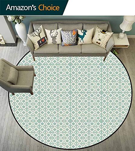 - Geometric Round Rug with Fringe,Retro Squares Pattern Minimalist Design Diagonal Authentic Artsy Figures for Living Room,Turquoise Cream,D-59