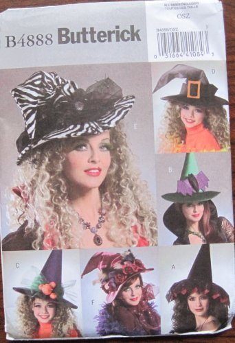 BUTTERICK PATTERN B4888 MISSES/GIRLS WITCH HATS SIZE OSZ