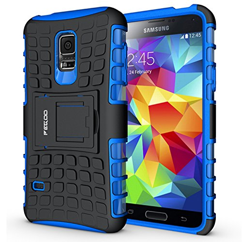 Galaxy S5 mini Case,Pegoo Shockprooof Impact Resistant Hybrid Heavy Duty Dual Layer Armor Hard Plastic and Soft TPU With a Kickstand bumper Protective ...