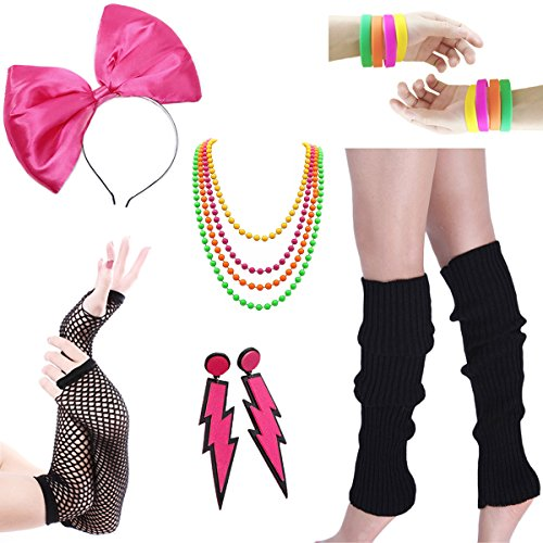 Women's 80s Costume 6 pc Accessory Set - many color choices