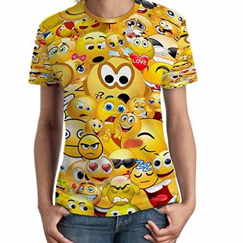 かわいい顔文字の女性のT Fullprint TシャツSサイズ   B06Y4379X7