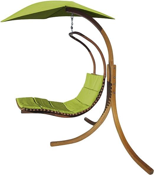 Diseño Hamaca Colgante NAVASSA-Verde con Soporte de Madera alerce y Alero y Comodo cojin de AS-S: Amazon.es: Jardín
