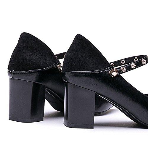 de Strass Talons Fête Talon pour Femme Mary Mode Pointu Jane Hauts à Black Sauvage Chaussures Boucle Pointu DKFJKI Talon Chaussures 4BwTfTq