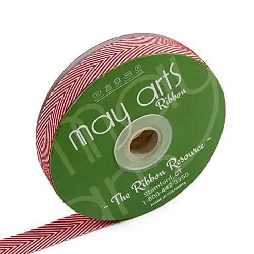 - May Arts 3/4'' Twill Chevron Stripes Ribbon (30 yard Spool) Red/Ivory