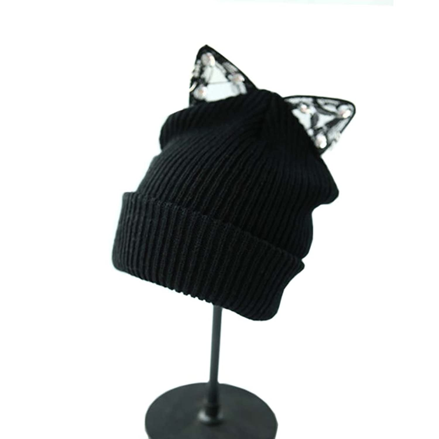 RULIU Women's Winter Fashion Lace Cat Ear Knit Slouchy Beanie Hat Ski Cap