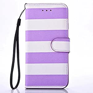 iphone x 5.8 inch case 2017 stripe PU Leather Wallet Flip Protective Case Cover with Card Slots Leather Wallet Case Designed Classic Design With Built In Card Slot (purple)