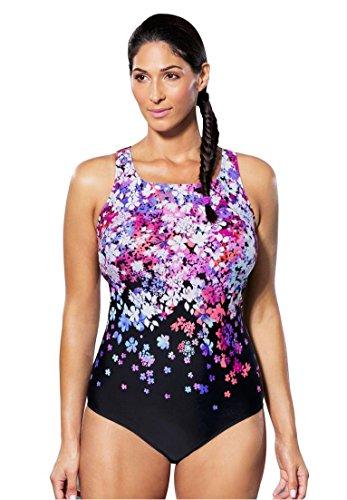 Aquabelle Women's Plus Size Aquabelle Maillot Swimsuit Flower Bomb,16