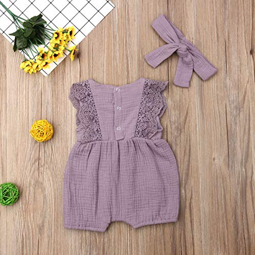 MSDMSASD Newborn Baby Girl Romper Cotton Linen Sleeveless Ruffled Bodysuit Infant Summer Clothes Outfits Jumpsuit+Headband
