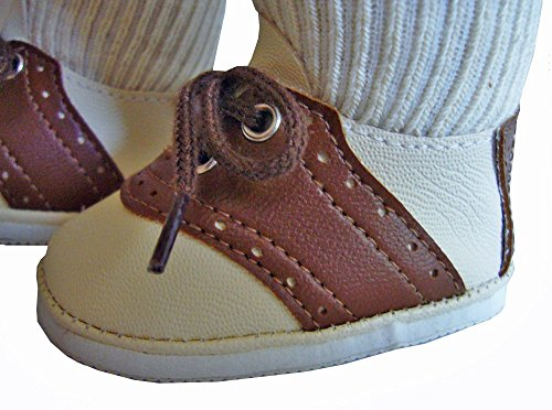 Cream w/ Brown Trim Saddle Shoes Fit American Girl ()
