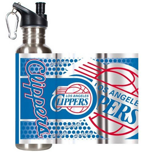 Great American Products NBA Los Angeles Clippers Steel Water Bottle with Metallic Graphics, 26 oz, Silver by Great American Products