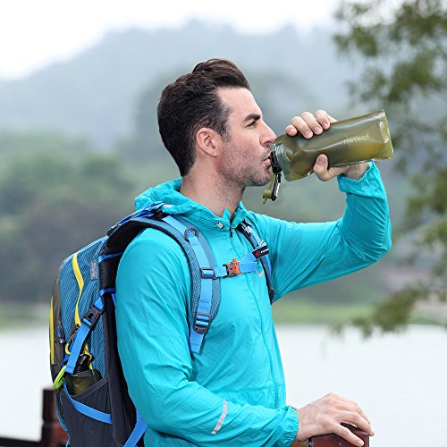 Collapsible Water Filter Bottle by miniwell. Personal 2 Stage Filtration System, Long Lasting Odor Free Water for Camping, Hiking, Travel and Survival. SGS Proven 99.9% Removal Rate of Bacteria