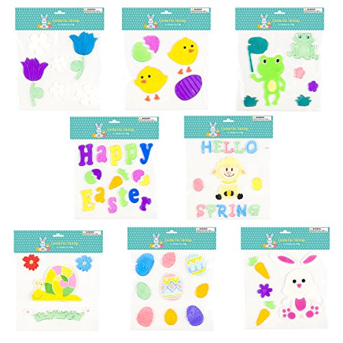 Easter & Spring Window Gel Cling Decorations - 8 Sheet Sets - Easter Eggs, Bunnies, Frogs, Flowers, Snails, Lamb, Happy Easter and Hello Spring Designs (Sheet Window Clings)