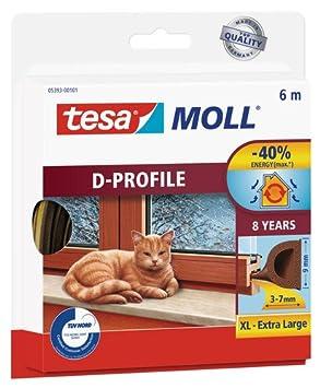 tesa moll D-Profil Gummi Fenster und Tü rdichtung weiss 6m tesa SE 05393-00100-00
