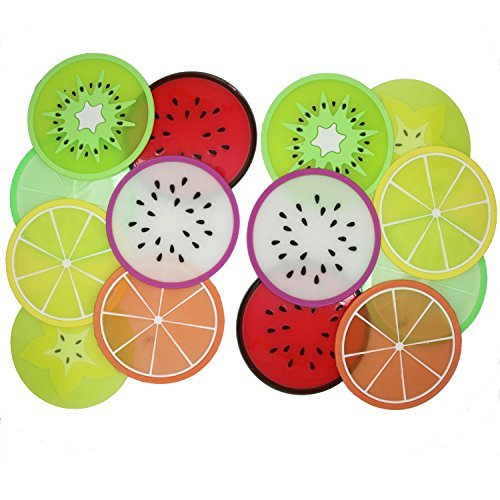 Meeall Non Slip Coasters for Drinks Cute Coasters Silicone Coasters Car Cup Holder Coaster, 14 Pack Fruit Coasters