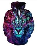 Gludear Unisex Realistic 3D Digital Print Pullover Hoodie Hooded Sweatshirt,Galaxy Lion,S/M