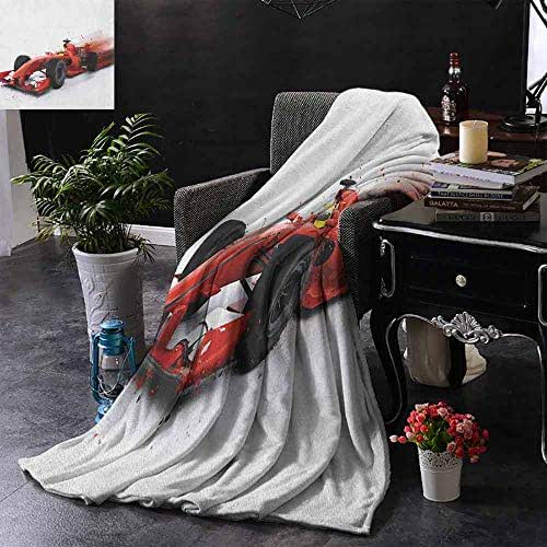 Kenneth Camilla Soft Warm Cozy Blanket Cars,Generic Formula 1 Racing Car Illustration with Special Effect Turbo Motion Auto Print,Red Black,Blanket for Bedroom Living Rooms Sofa Couch 70