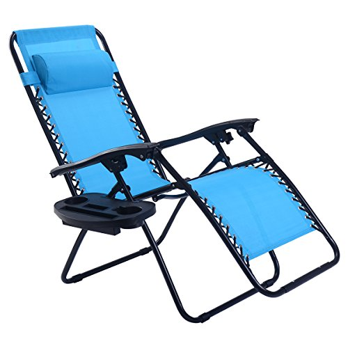 Goplus Folding Zero Gravity Reclining Lounge Chairs Outdoor Beach Patio W/Utility Tray (Light Blue) Review
