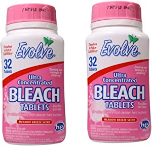 Evolve Meadow Breeze Scent Ultra Concentrated Bleach Tablets, 32 Tablets (Pack of 2)