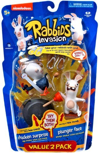 Raving Rabbids Invasion Series 2 Action Figure with Sound Chicken Suprise & Plunger Face by Raving Rabbids Invasion