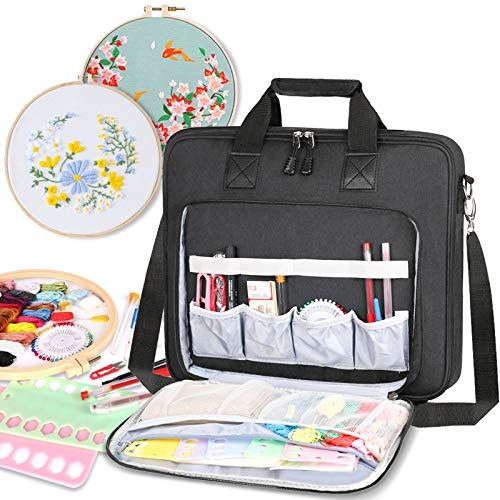 LLYWCM Embroidery Project Bag - Multifunctional Embroidery Kits Storage Bag for Embroidery Floss and Crochet Hooks Sewing Accessories (Bag Only) (Black)