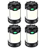 Hillmax 4 Pack LED Camping Lantern with White Light,Warm Light and Mixture Portable Outdoor Lights Operated by Batteries for Camping, Hiking, Fishing and Emergency, Hurricane, Power Outage light