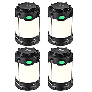 Hillmax 4 Pack Camping Lantern with 3 LED Modes White Light,Warm Light and Mixture Portable Outdoor Light Operated by AAA or AA Batteries for Camping, Fishing and Emergency(Battery Included)
