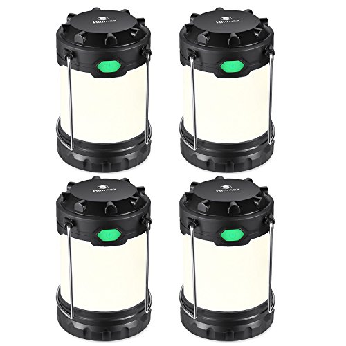 Hillmax 4 Pack Portable LED Camping Lantern with 3 Modes Light Lightweight Outdoor Flashlights Operated by Dual Batteries for Camping, Hiking, Fishing and Emergency, Hurricane, Power Outage Night -