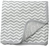 SkipHop Unisex-Baby Starry Chevron Reversible Welcome Blanket Neutral, Grey, One Size
