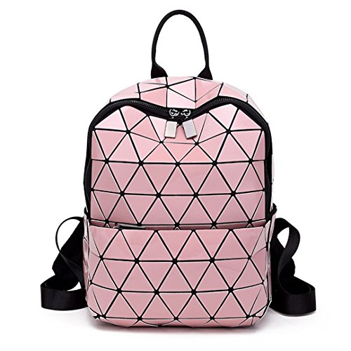 Geometric Folding Bag Small Student's School Bags For Teenage Girls Hologram Daily Casual PU Backpacks pink