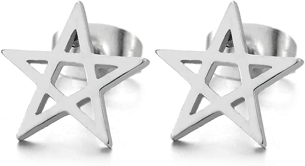 Pair Stainless Steel Plain Flat Star Pentagram Stud Earrings for Man Women, 2pcs