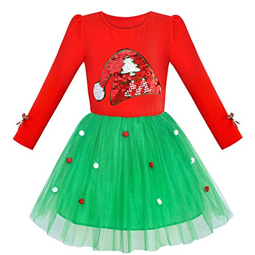 JV92 Girls Dress Christmas Santa Hat Long Sleeve Party Dress Size 7 -