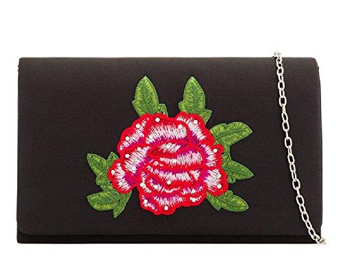 Bag Satin Women's Flower Clutch KH2213 Black Handbag Evening Ladies Purse Party Floral RATxnqa