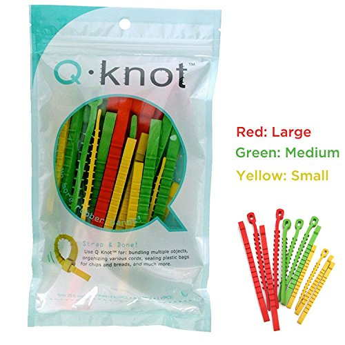 UT Wire Q Knot Reusable Cable Tie, 25-Piece Pack (Multicolored Ties Zip)