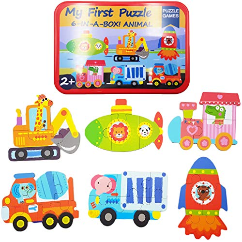 Zocita Children Jigsaw Puzzles, 6-Pack Early Education Puzzles in an Iron Box for 2-3 Years Old Kids (Vehicle-02)