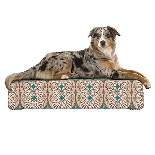 (Lunarable Damask Dog Bed, Traditional Timeless Floral Composition with Swirls Curls Abstract Design, Dog Pillow with High Resilience Visco Foam for Pets, 32
