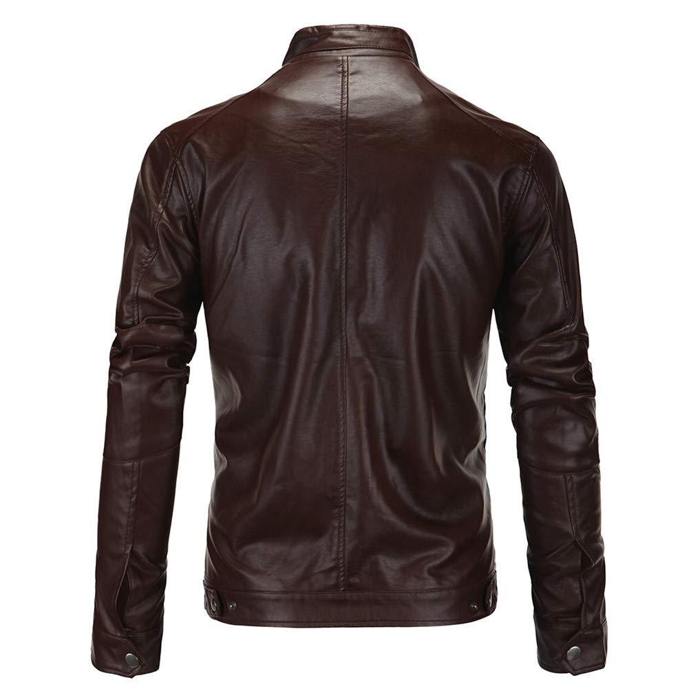 MISSMAOM Giacca da Moto in Pelle Giacca da Motociclista Cappotto Uomo