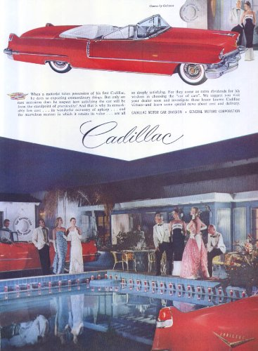 Cadillac Palm Springs Racquet Club Galanos ad 1956 for sale  Delivered anywhere in USA