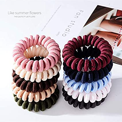 4 Large Thick Metallic Coloured Spiral Hair Band Hairbands Bobbles Stretchy
