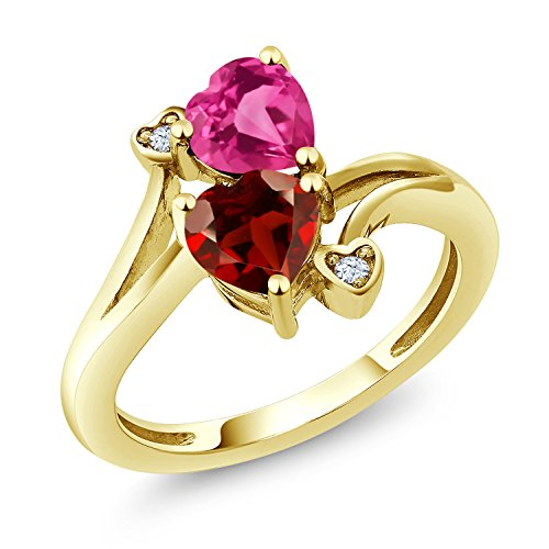 Gem Stone King 1.73 Ct Heart Shape Red Garnet Pink Created Sapphire 10K Yellow Gold Ring (Size 7)