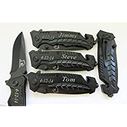 4 pcs Personalized Engraved Rescue Pocket Black Hunting Knives Groomsmen, Groomsman Gift-KS 69