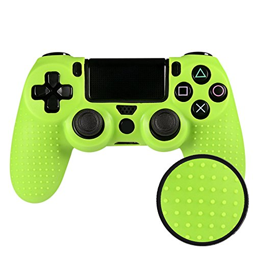 eXtremeRate® Studded Silicone Controller Cover Skins Protection for Video Games Sony PS4 Playstation 4 Green (Game Controller Protection)