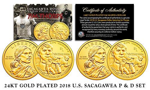2018 Native American Sacagawea JIM THORPE $1 Dollar 2-Coin Set 24K GOLD Clad - Indian Gold Coin Set
