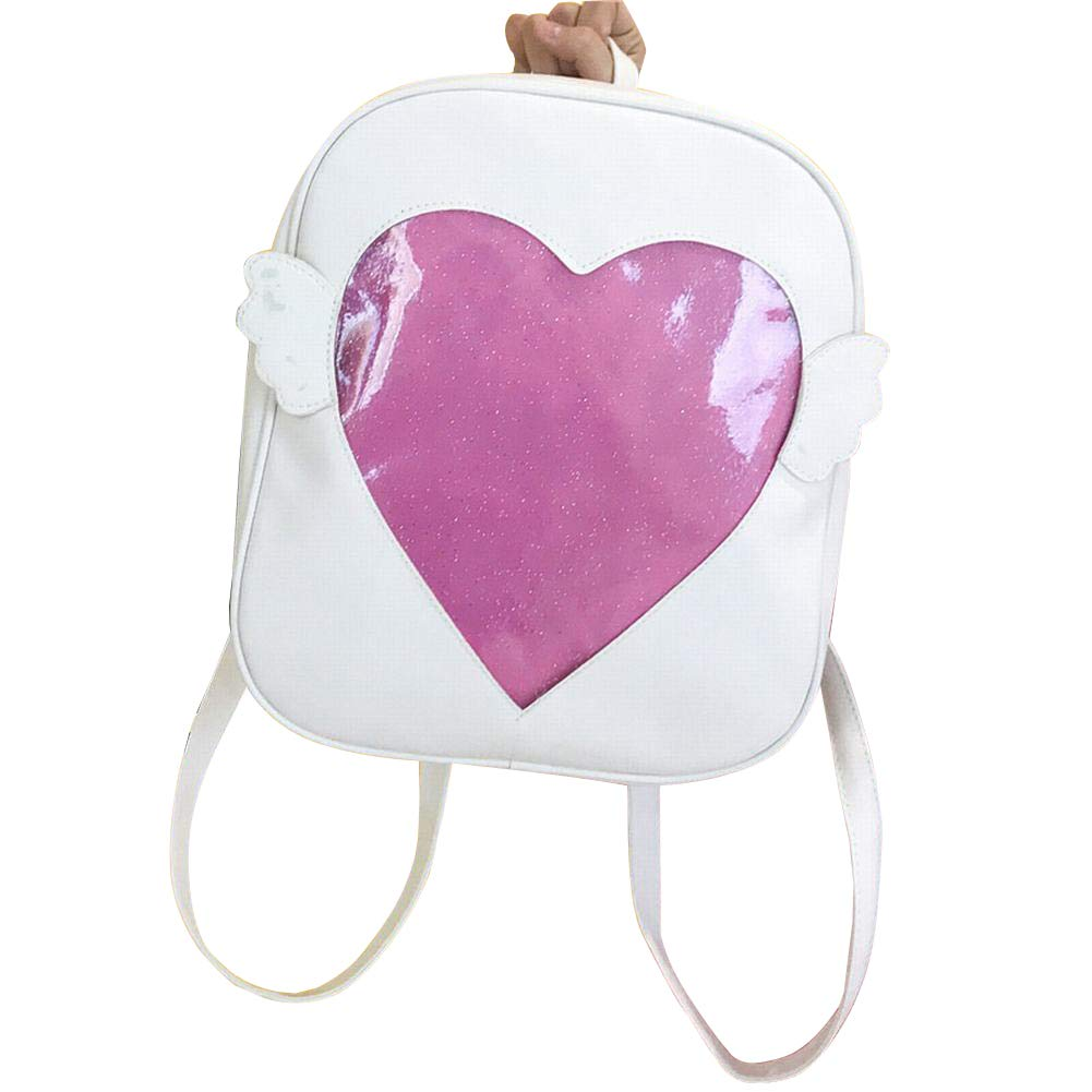 Girls Backpacks Cute Candy Leather Wing Backpack Transparent Love Heart Schoolbags Ita Bag Jelly Daypack (Pink)